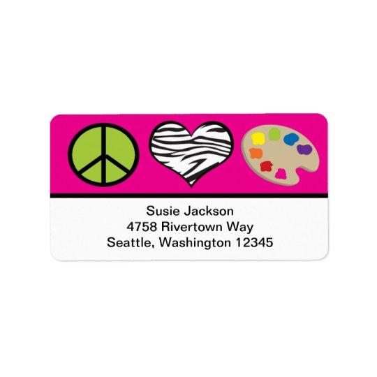 Fredkärlek och konstetikett adressetikett