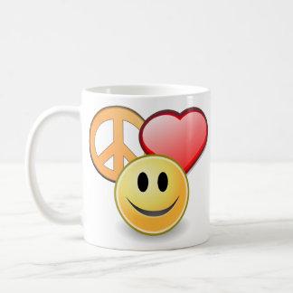 Fredkärlek- och lyckamugg kaffemugg