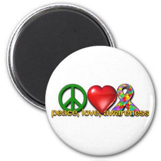 Fredkärlekmedvetenhet Magnet Rund 5.7 Cm