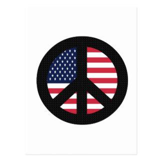 Fredstecken med amerikanska flaggan vykort