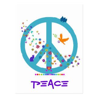 Fredstecken med regnbågefärger vykort