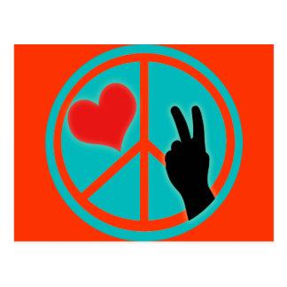 Fredsteckenfred och kärlek vykort