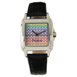 Fredsteckenregnbågefärger med namn armbandsur