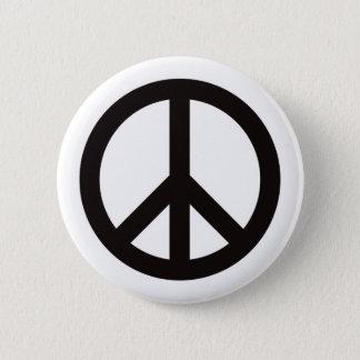 Fredsymbol - svart standard knapp rund 5.7 cm