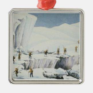 Frekventera utseendemässigt av isen med julgransprydnad metall