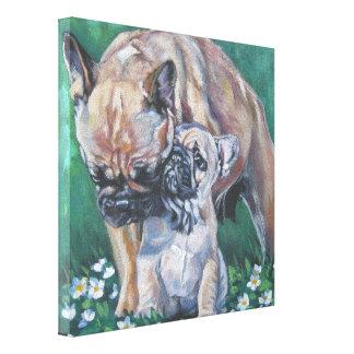 Frenchie fransk bulldogg på slågen in kanfas canvastryck