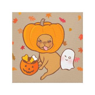 Frenchie i dräkten för halloween fest canvastryck