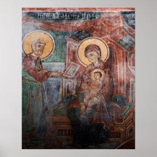 Frescoes från den 14th århundradeserbkyrkan, 2 poster