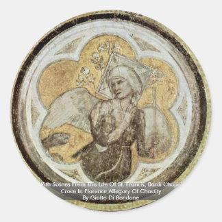 Frescoes med platser från livet av St Francis Runt Klistermärke