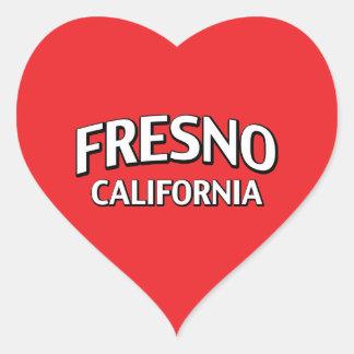 Fresno Kalifornien Hjärtformat Klistermärke