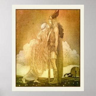 Freyja och Svipdag av John Bauer 1911 Poster