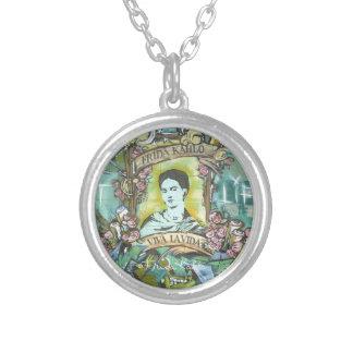 Frida Kahlo grafitti Halsband Med Rund Hängsmycke