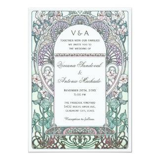 Fridfulla art nouveaubröllopinbjudningar 12,7 x 17,8 cm inbjudningskort