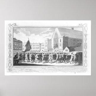 Fridsam procession av medlemmarna av protestanten poster