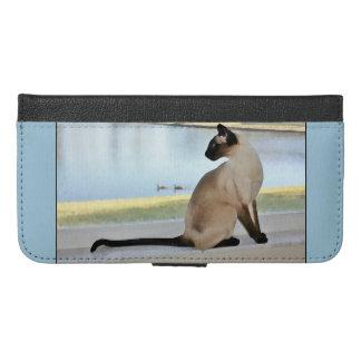 Fridsam Siamese kattmålning iPhone 6/6s Plus Plånboksfodral