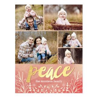 Fridsam vykort för kort för hälsninghelgdagfoto