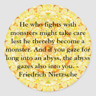 Friedrich Nietzsche - djupsinnig quotation Runt Klistermärke