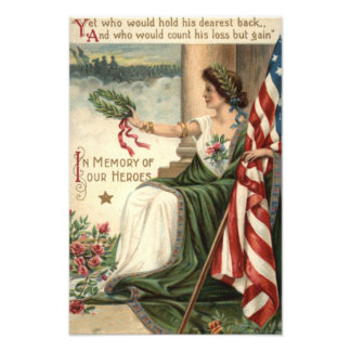 Frihet för US-flaggadamen steg soldater Fototryck