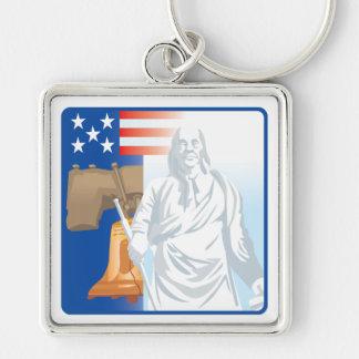 Frihet Fyrkantig Silverfärgad Nyckelring