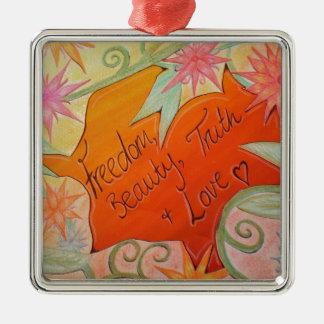 Frihet, skönhet, sanning och kärlek julgransprydnad metall