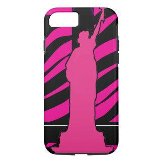 Frihetsgudinnan i rosa och svart iPhone 7 fodral