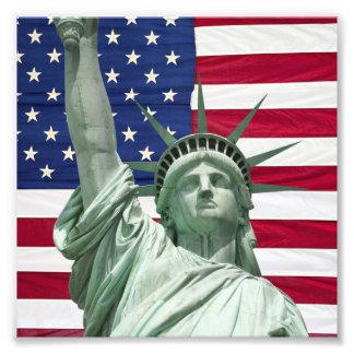 Frihetsgudinnan och amerikanska flaggan fototryck