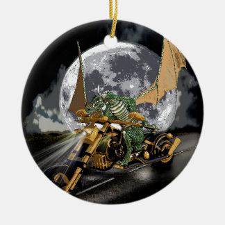 Friktion-tävla drake och månefantasikonstverk julgransprydnad keramik