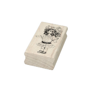 Frimärke för konst för vintagedocka Rubber Stämpel