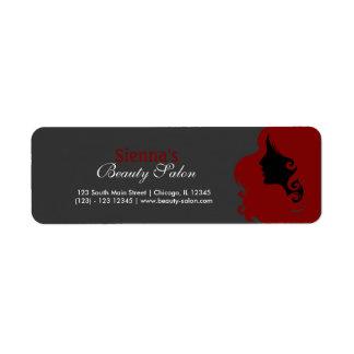 Frisör (röd mörk -) returadress etikett