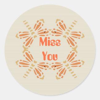Fröcken dig, sländor i orange & solbränna på svart runt klistermärke
