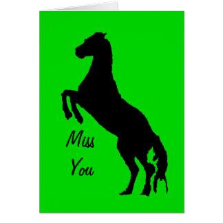 Fröcken dig, svart häst på grönt som fostrar upp hälsningskort