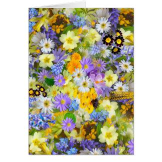 Frodig färgrik bukettdesign för nätt vår blommor hälsningskort