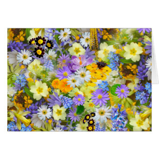 Frodig färgrik bukettdesign för nätt vår blommor OBS kort