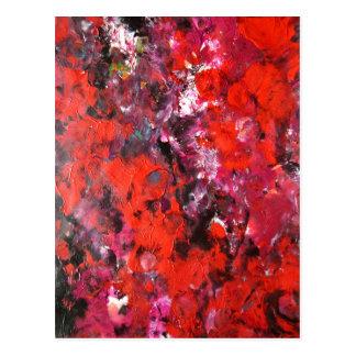 Frodig modern röd abstrakt blommafältmålning vykort