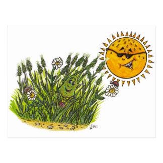 Frodiga gröntgräs vykort