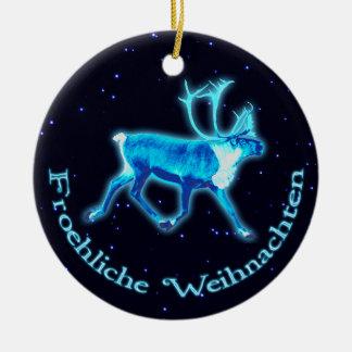 Froehliche Weihnachten - blåttCaribou (renen) Rund Julgransprydnad I Keramik