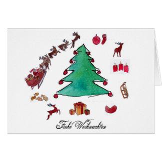Frohe Weihnachten mit Tannenbaum Hälsningskort
