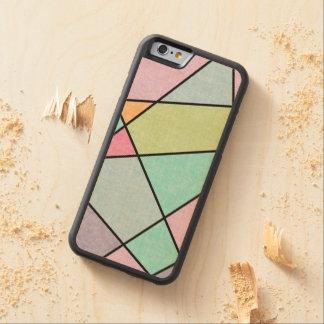 Frostad pastellabstrakt som är geometrisk vid carved lönn iPhone 6 bumper skal