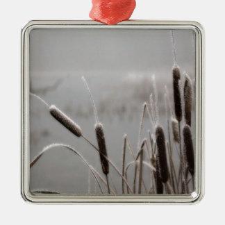 Frostade Cattails för vinterplats Julgransprydnad Metall