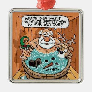 Frostig smältt Santa skrämmd julgranprydnad Julgransprydnad Metall