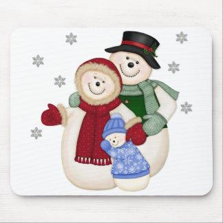 Frostig snögubbefamilj - blått musmatta