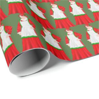 Fru Claus helgdag som slår in papper Presentpapper