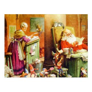 Fru Claus och Santa på nordpolenen Vykort