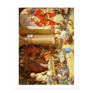 Fru Claus & Santas älvor som bakar julkakor Vykort