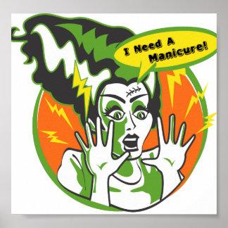 Fru Frankenstein behöver en Manicure Poster