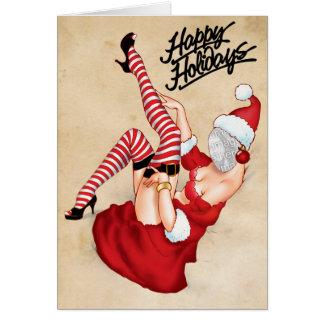 Fru Santa Klämma fast upp hälsningkort Hälsningskort