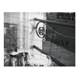 Frukost i Paris, svartvit vykort
