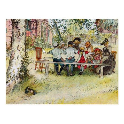 Frukost under den stora björken av Carl Larsson Vykort