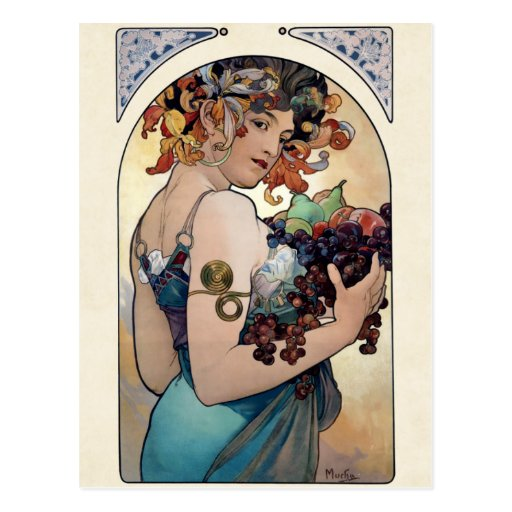 Frukt av Alfons Mucha 1897 Vykort
