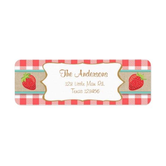 Frukt för jordgubbereturetikettersommar returadress etikett